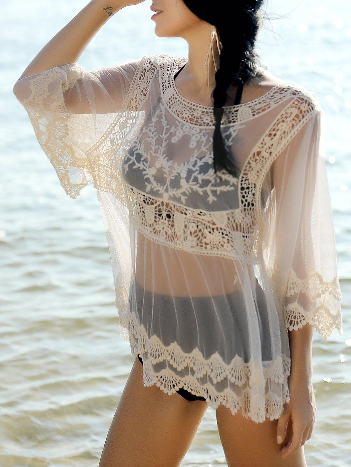 Sweet Women's Scoop Neck Spliced Long Sleeve Cover-Up Blouse