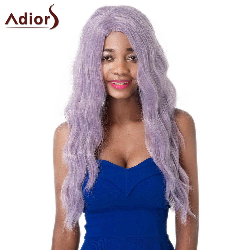 Long Light Purple Capless Fluffy Wavy Women's Synthetic Adiors Wig