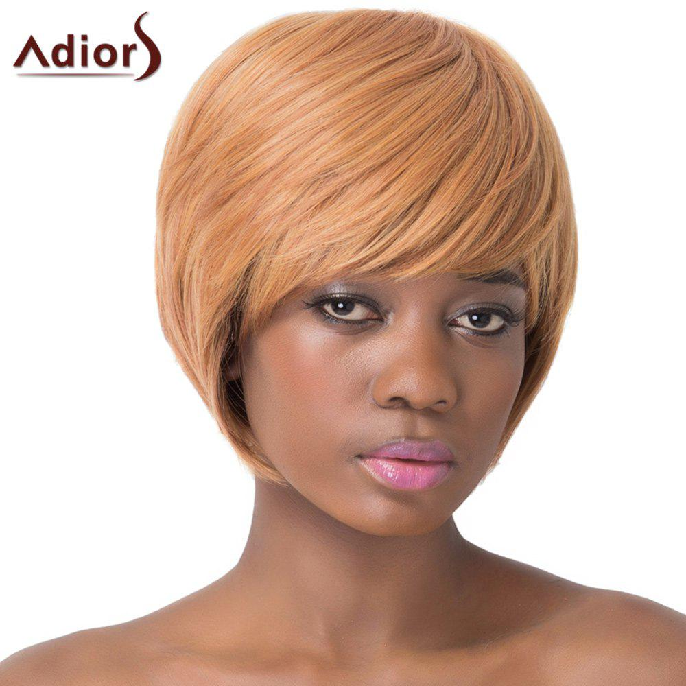 Elegant Brown Heat Resistant Synthetic Short Straight Capless Adiors Wig For Women - GOLD BROWN