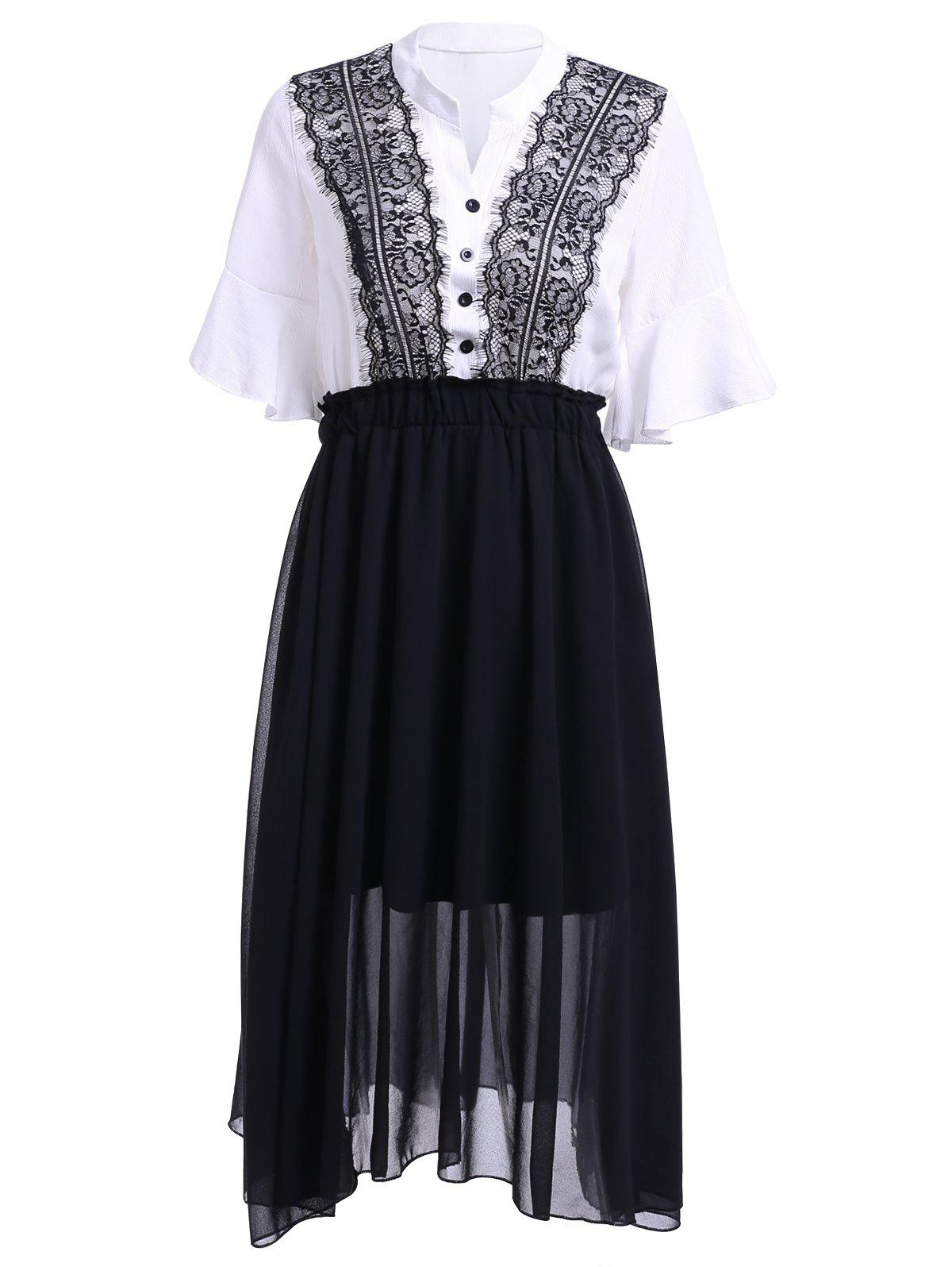 Sweet Women's V-Neck Half Sleeve High Waist Chiffon Dress - WHITE/BLACK ONE SIZE(FIT SIZE XS TO M)