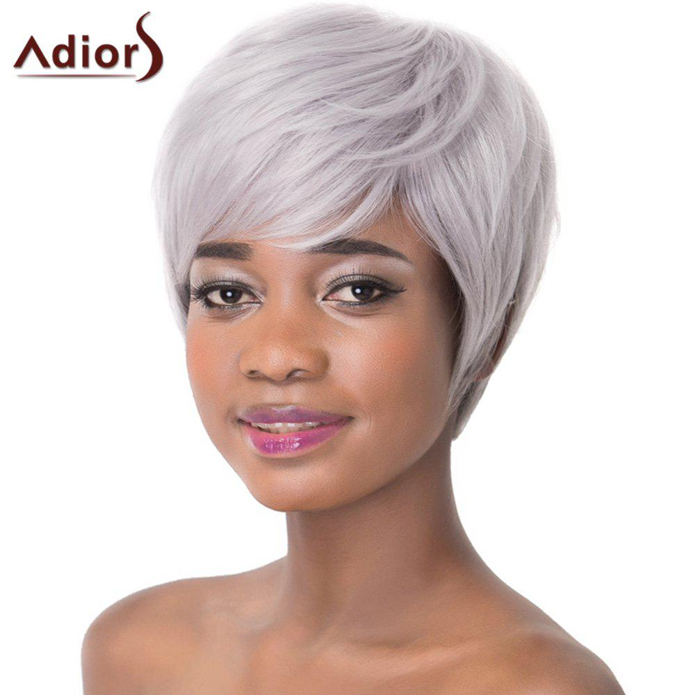 Attractive Light Gray Straight Capless Short Haircut Heat Resistant Synthetic Women's Adiors Wig - LIGHT GRAY