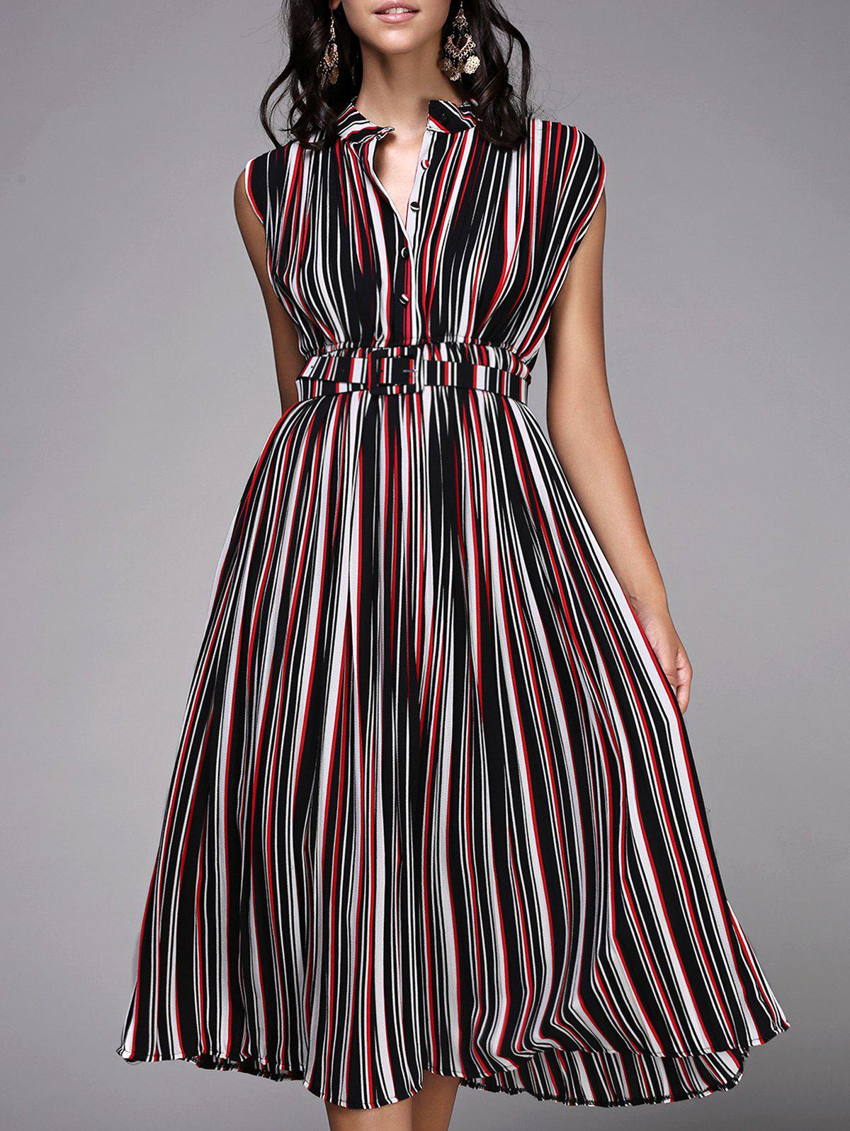 Fashionable Sleeveless Striped Button Design Women's Dress - ONE SIZE(FIT SIZE XS TO M) STRIPE