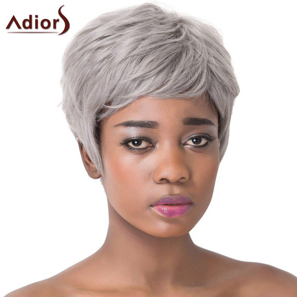 Trendy Short Layered Capless Fluffy Straight Gray Women's Synthetic Adiors Wig
