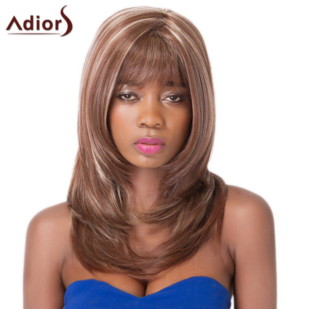 Graceful Tail Adduction Layered Long Fluffy Straight Full Bang Women's Synthetic Adiors Wig - COLORMIX