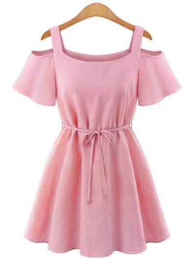 Stylish U Neck Short Sleeves Cut Out Tie Belt Solid Color Women's Dress - LIGHT PINK XL