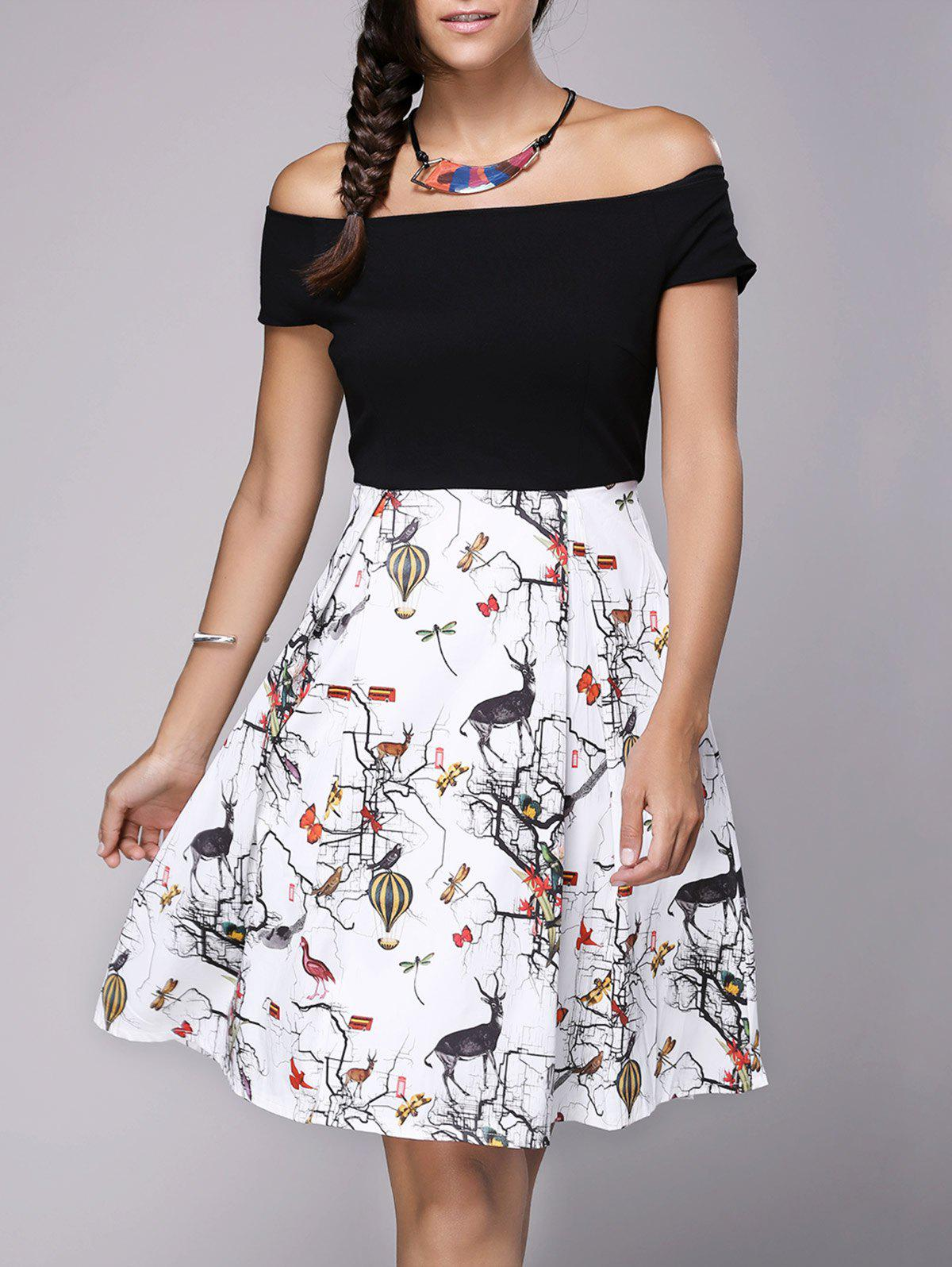 Stylish Women's Off The Shoulder Print Flare Dress - WHITE/BLACK ONE SIZE(FIT SIZE XS TO M)