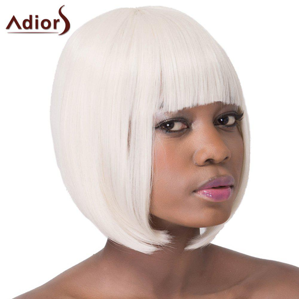 Attractive Straight Full Bang Capless Bob Style Short Off-White Synthetic Women's Adiors Wig