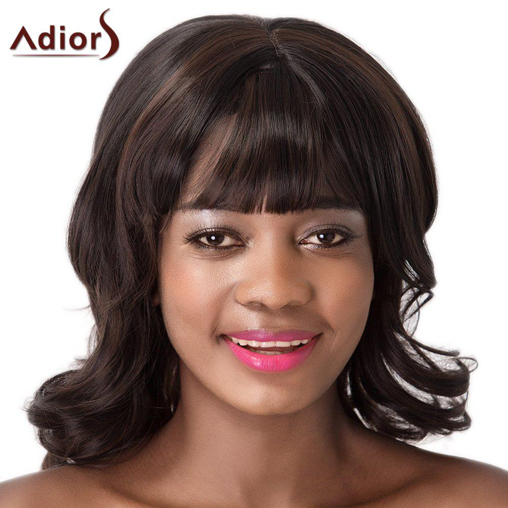 Full Bang Women's Capless Fluffy Wavy Synthetic Adiors Wig - DEEP BROWN