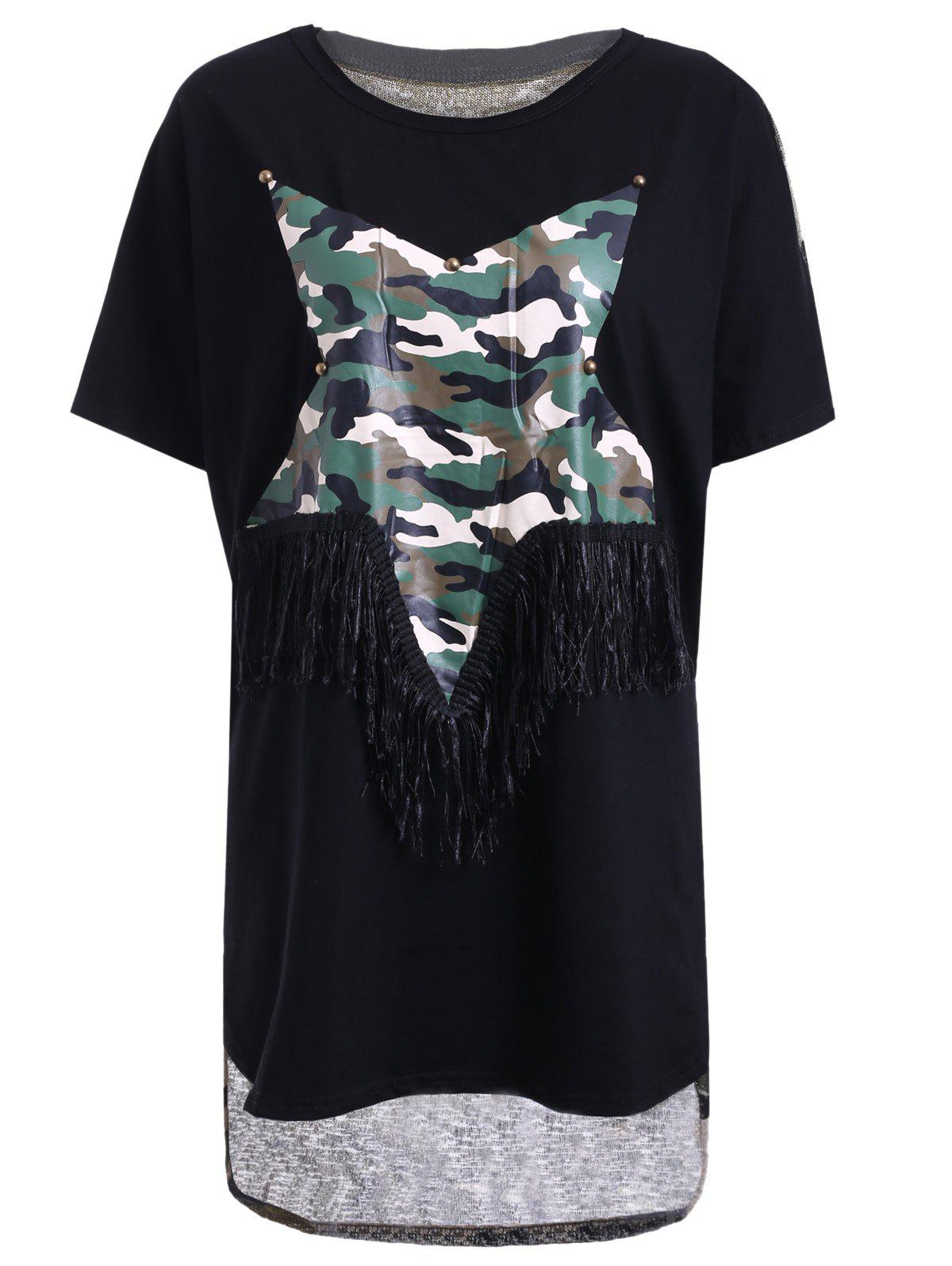 Trendy Women's Jewel Neck Star Patchwork Camo Print Fringed T-Shirt