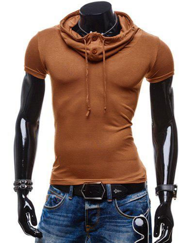 Trendy Summer Solid Color Button Design Piles Collar Short Sleeve Slimming Men's Polyester T-Shirt - CAMEL 2XL