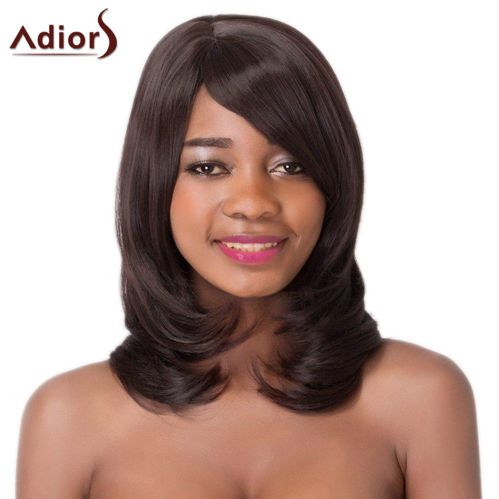 Elegant Medium Side Bang Synthetic Natural Wave Black Brown Women's Adiors Wig - BLACK BROWN