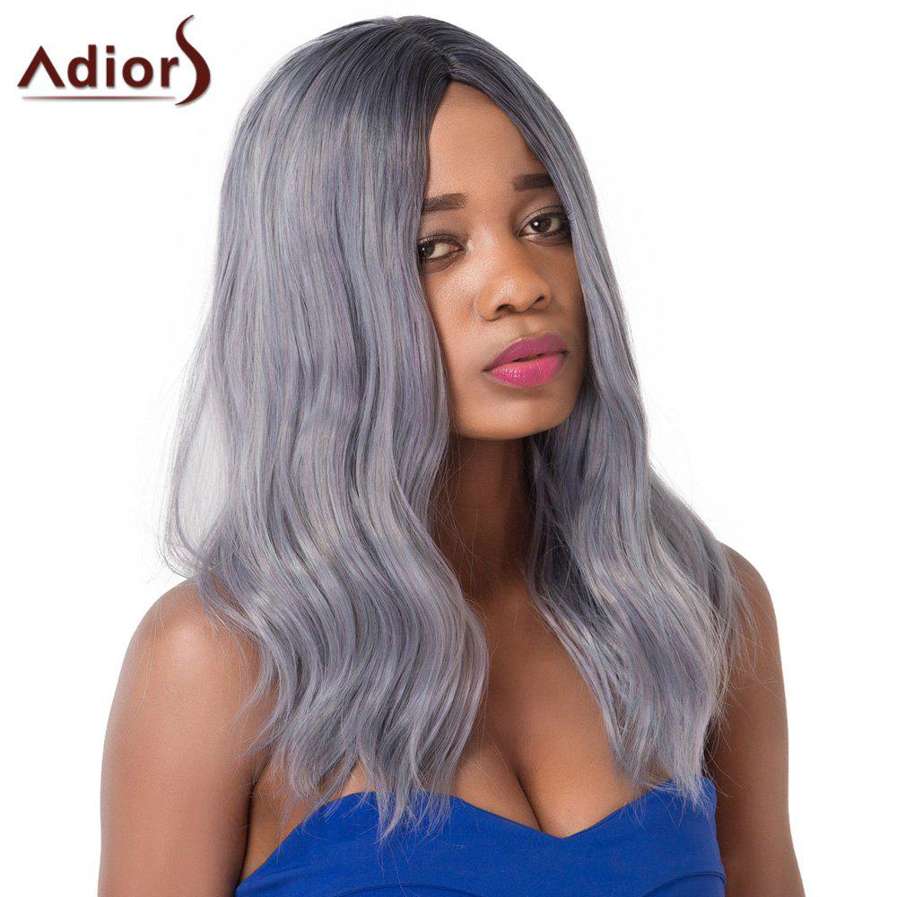 Fluffy Medium Wave Centre Parting Chic Mixed Color Synthetic Capless Adiors Wig For Women
