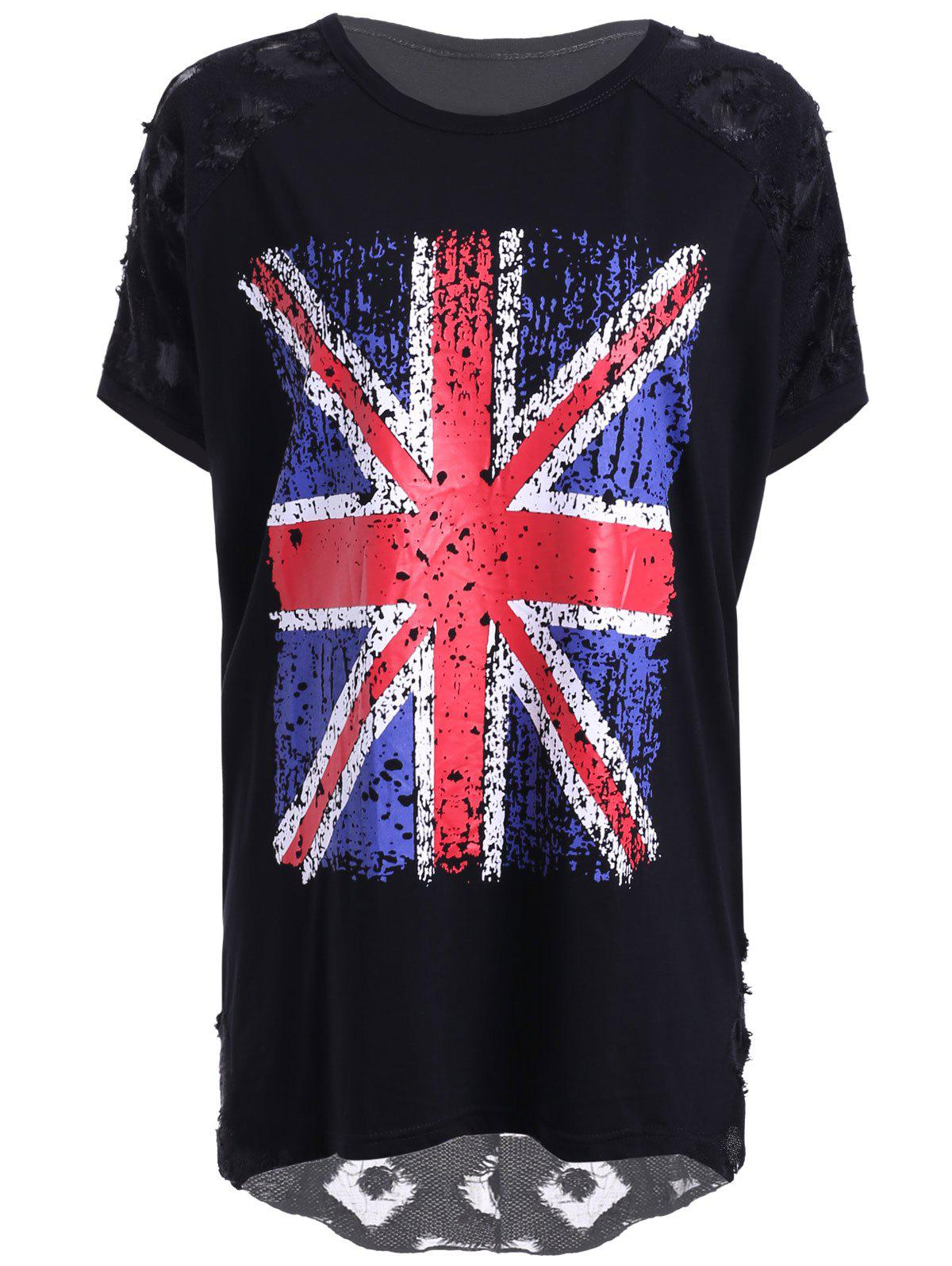 Trendy Women's Jewel Neck Union Flag Patchwork Jacquard T-Shirt