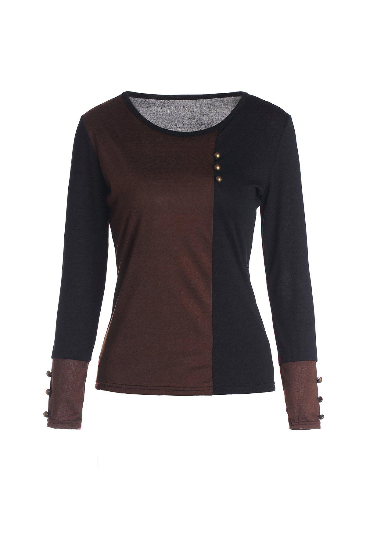 Women's O-Neck Cotton Multicolor Simple Design Comfortable Ladylike - COFFEE S
