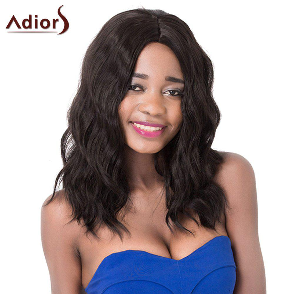 Stylish Natural Wave Trendy Black Brown Synthetic Women's Adiors Wig - BLACK BROWN