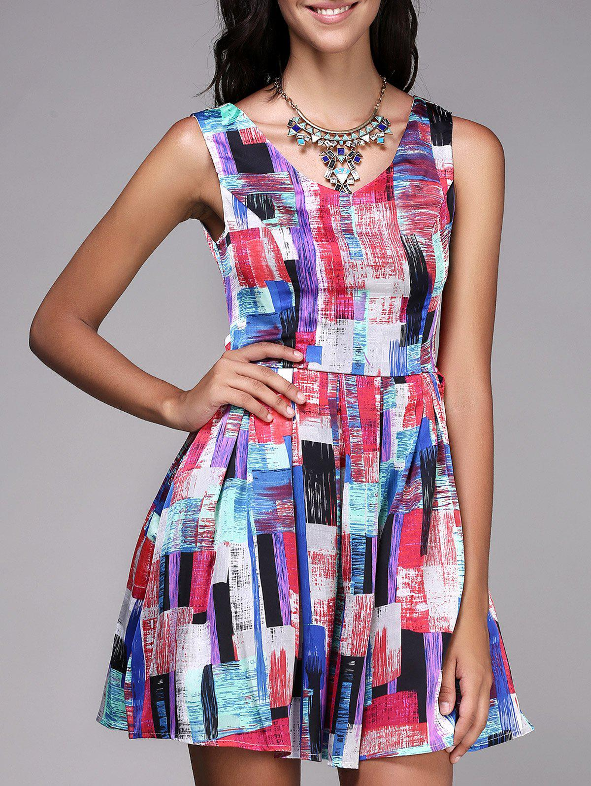 Chic Sleeveless Cut Out Zipper Design Printed Women's Dress - RED ONE SIZE(FIT SIZE XS TO M)