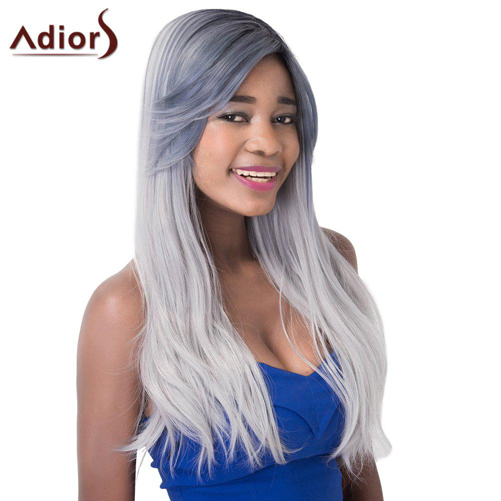 Natural Straight Charming Long Gray Mixed Synthetic Adiors Wig For Women