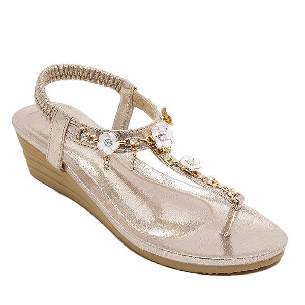 Casual Rhinestones and Flowers Design Women's Sandals - GOLDEN 37