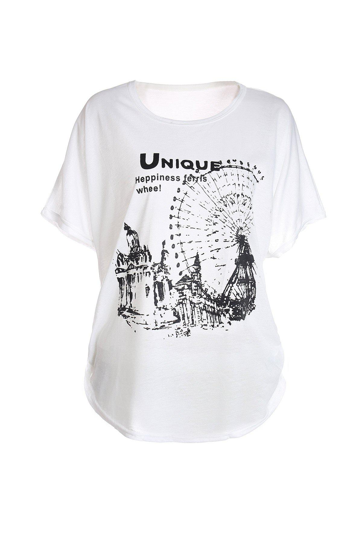 Loose-Fitting Ferris Wheel Pattern Batwing Short Sleeve Women's T-Shirt - WHITE ONE SIZE