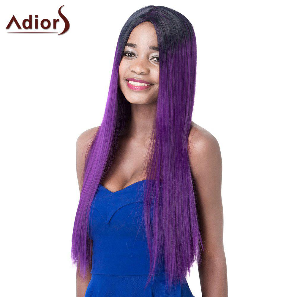Charming Mixed Color Long Silky Straight Centre Parting Synthetic Adiors Wig For Women