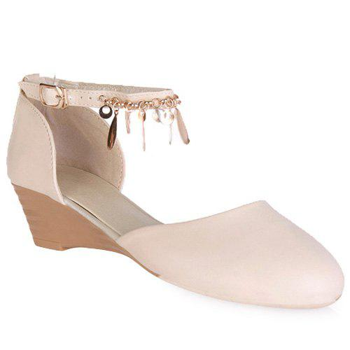Stylish Ankle Strap and Pendant Design Women's Wedge Shoes - OFF WHITE 36