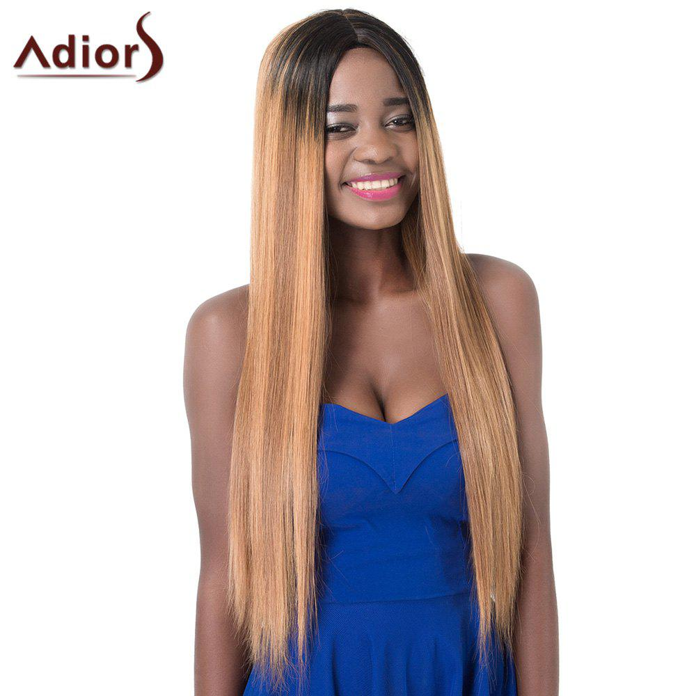 Charming Mixed Color Centre Parting Long Silky Straight Synthetic Adiors Wig For Women - COLORMIX
