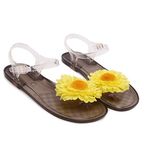Concise Flat Heel and Chrysanthemum Design Women's Sandals - COFFEE 38
