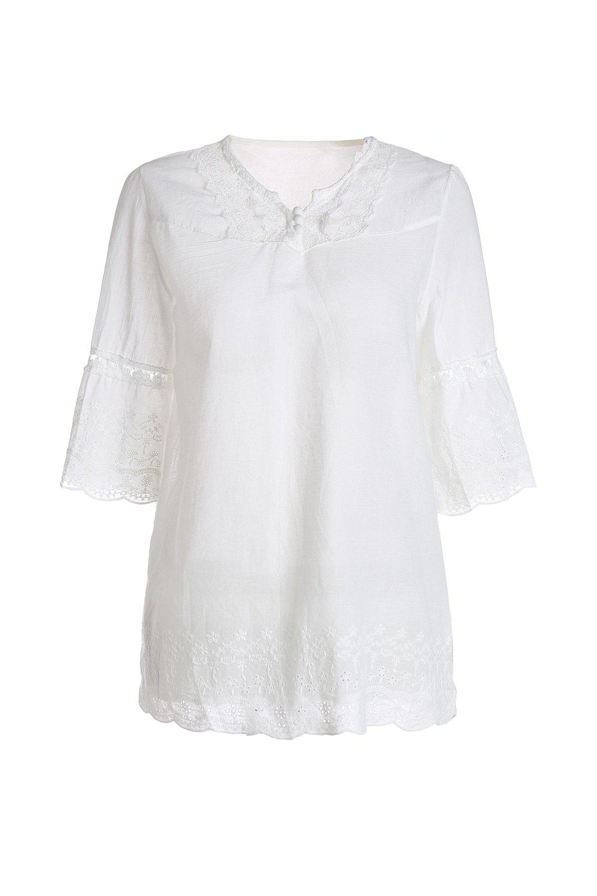 Refreshing Style Polyester Short Sleeves V-Neck Lace Splicing Women's Blouse