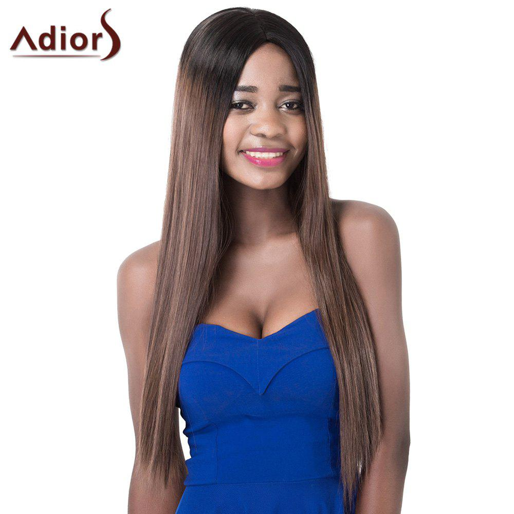 Elegant Mixed Color Centre Parting Long Silky Straight Synthetic Adiors Wig For Women - COLORMIX