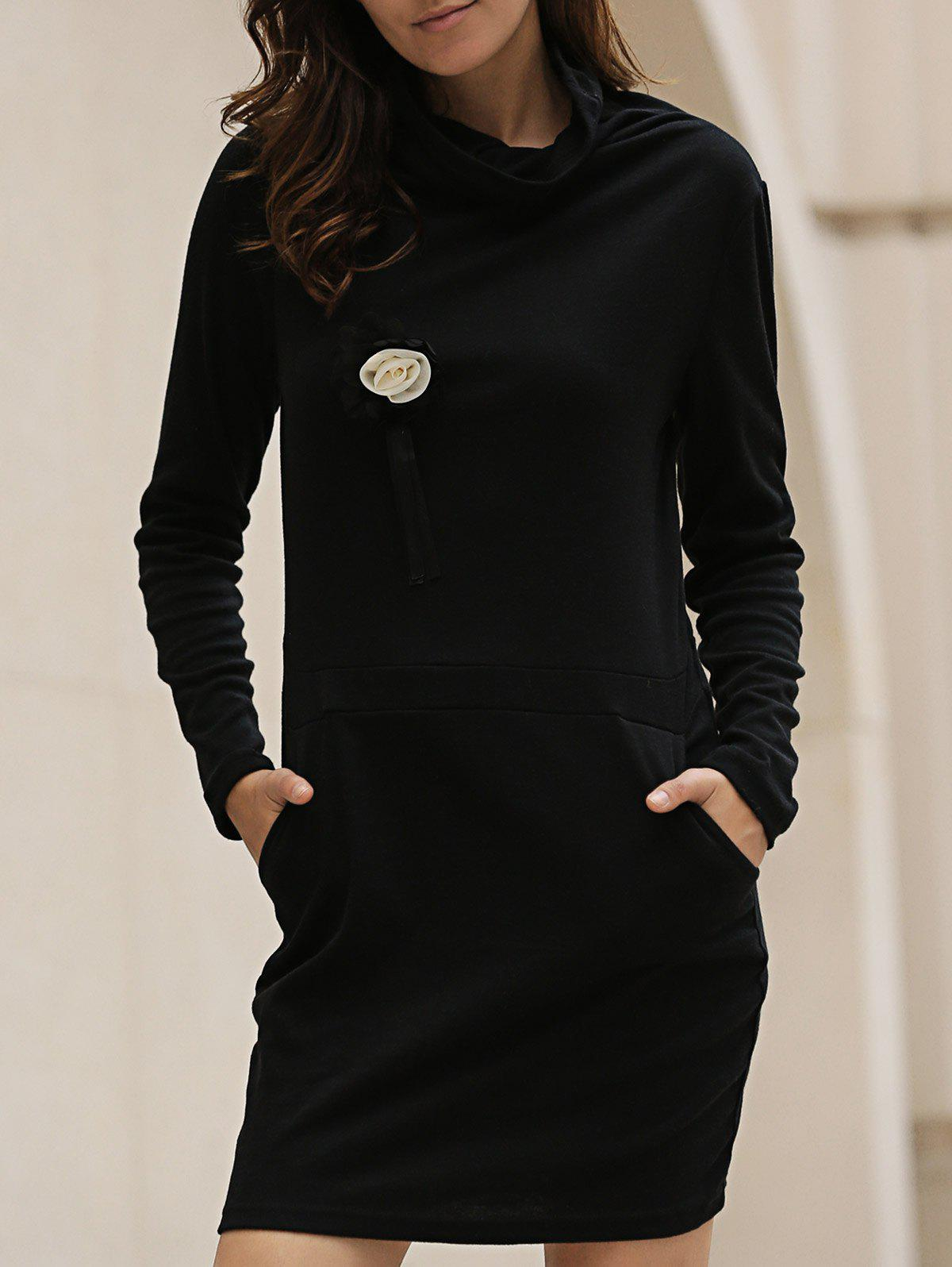 Stylish Long Sleeve Cowl Neck Bodycon Solid Color Women's Dress - BLACK M