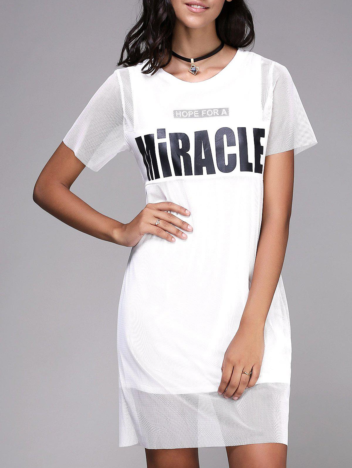 Trendy Short Sleeve Round Neck Voile Spliced Letter Print Women's Dress - WHITE ONE SIZE(FIT SIZE XS TO M)