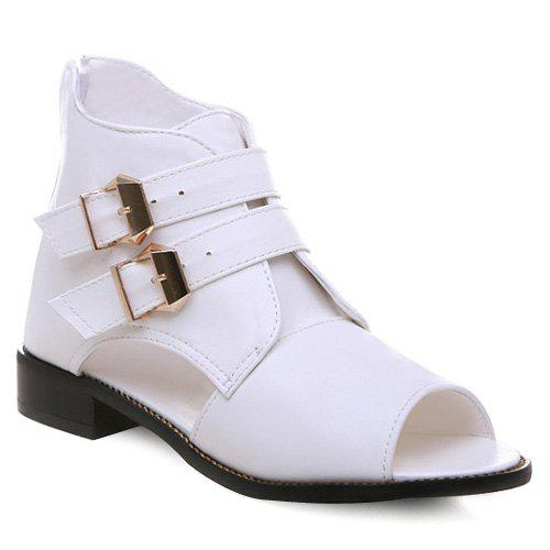 Stylish Buckles and Peep Toe Design Women's Sandals - WHITE 39