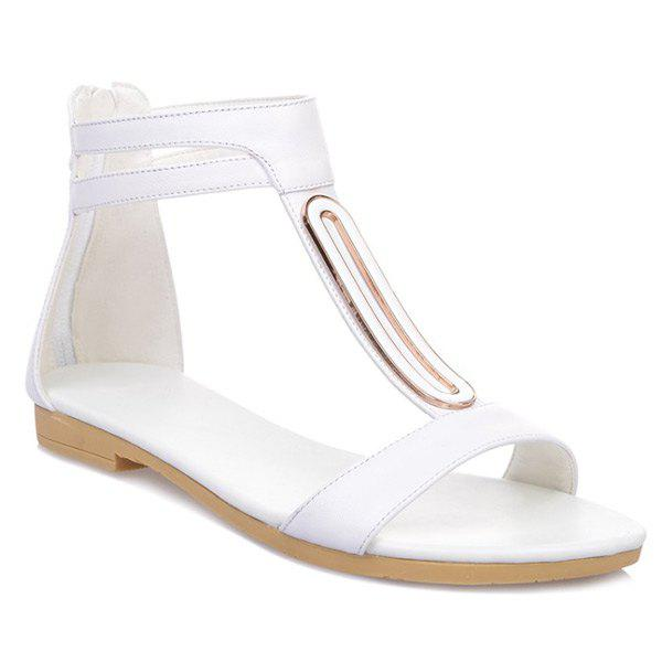 Concise Zip and Flat Heel Design Women's Sandals - WHITE 39
