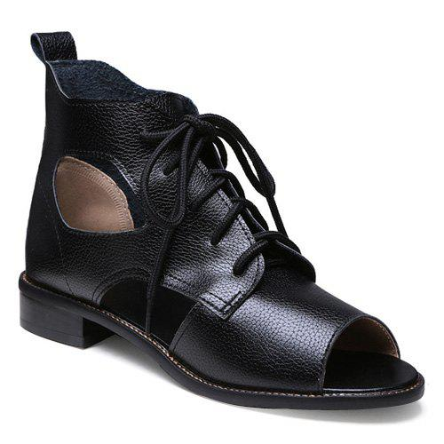 Leisure Peep Toe and Lace-Up Design Women's Sandals - BLACK 39