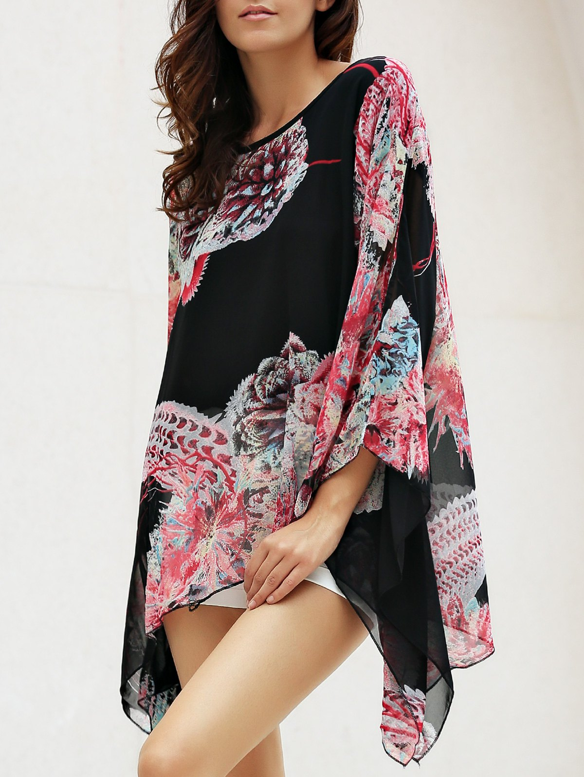 Chic Long Sleeve Scoop Neck Floral Print Women's Blouse - BLACK ONE SIZE(FIT SIZE XS TO M)