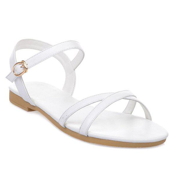 Simple PU Leather and Cross Straps Design Women's Sandals - 38 WHITE
