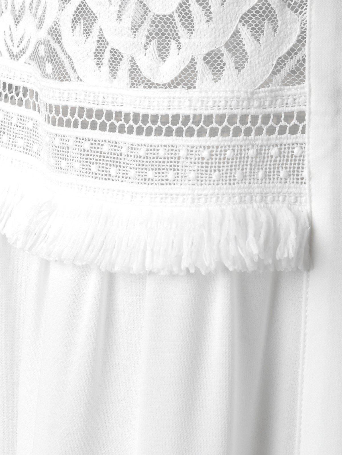 Loose-Fitting Scoop Neck Blouse For Women - WHITE M
