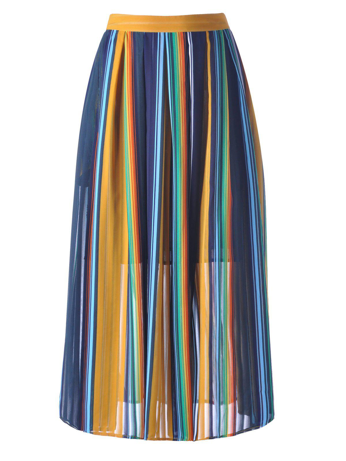 Women's High Waisted Stripe Midi Skirt - PURPLISH BLUE M