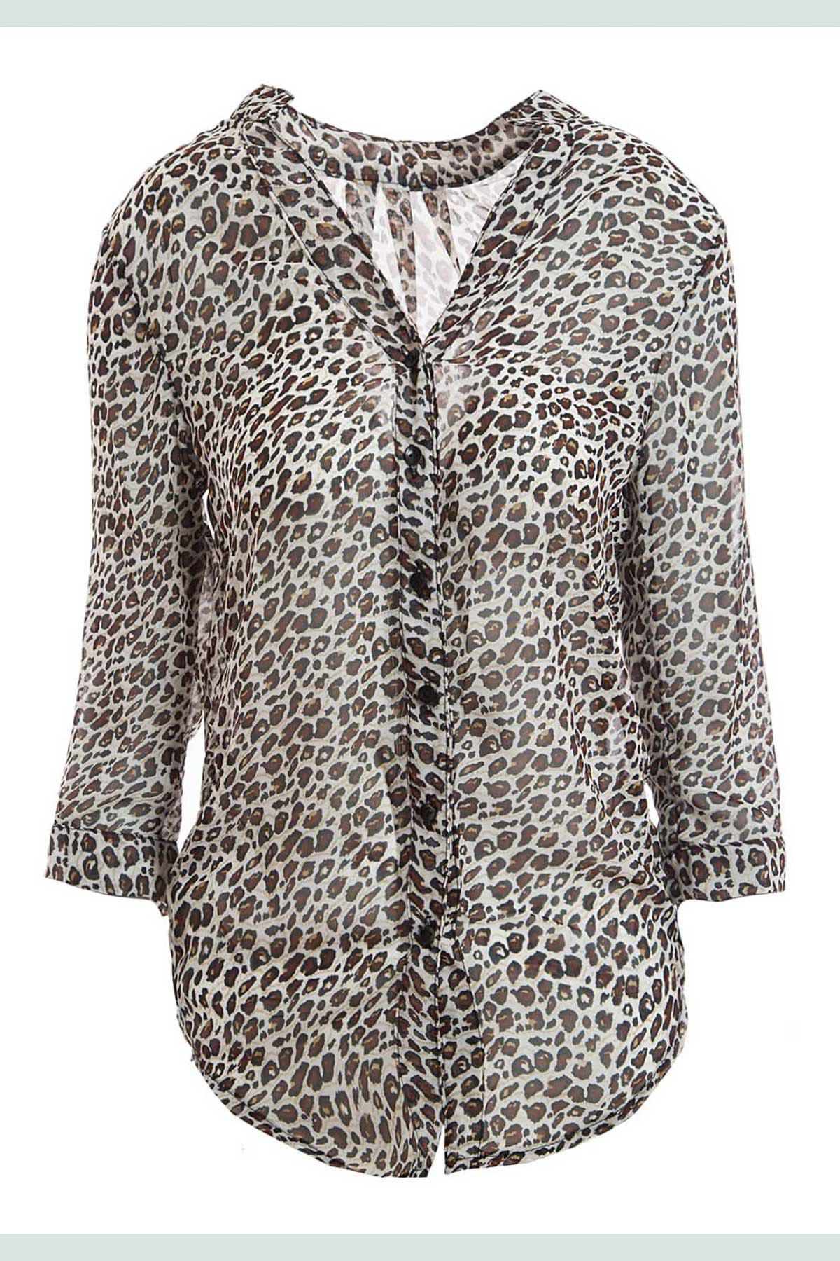 Stylish Leopard Print Stand Collar 3/4 Flanging Sleeve Chiffon Women's Blouse