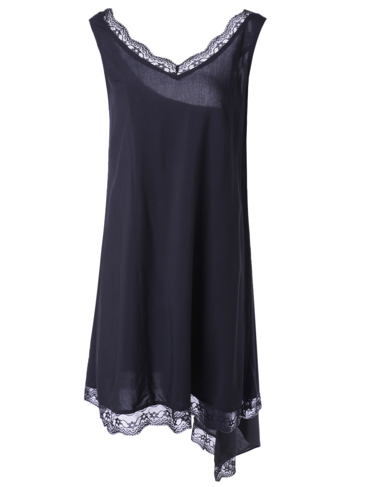 Fashionable Women's V-Neck Sleeveless Asymmetric Lace Dress - BLACK S