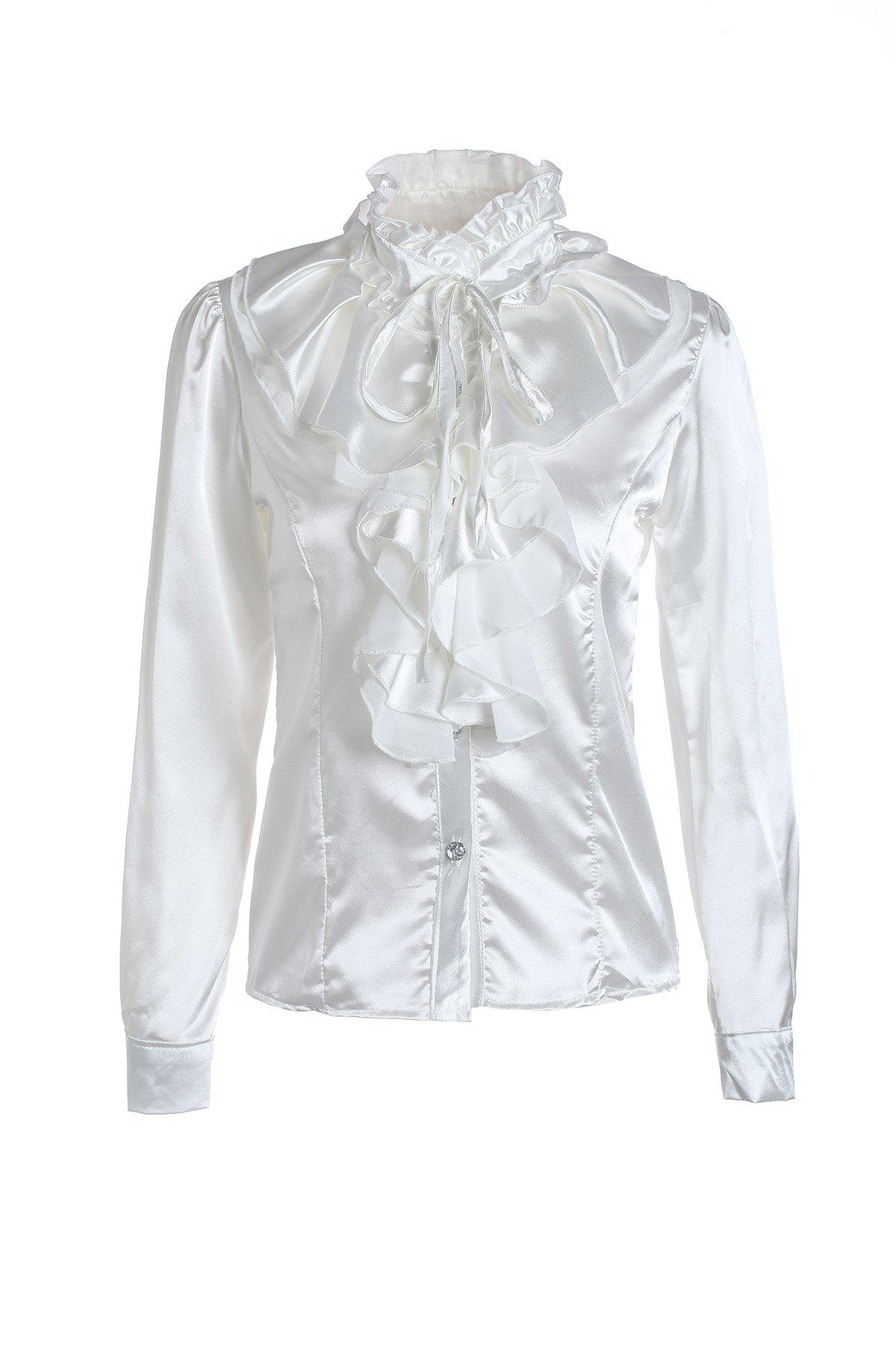Elegant Palace Style Stand Collar Flouncing Embellished Long Sleeve Chiffon Women's Shirt
