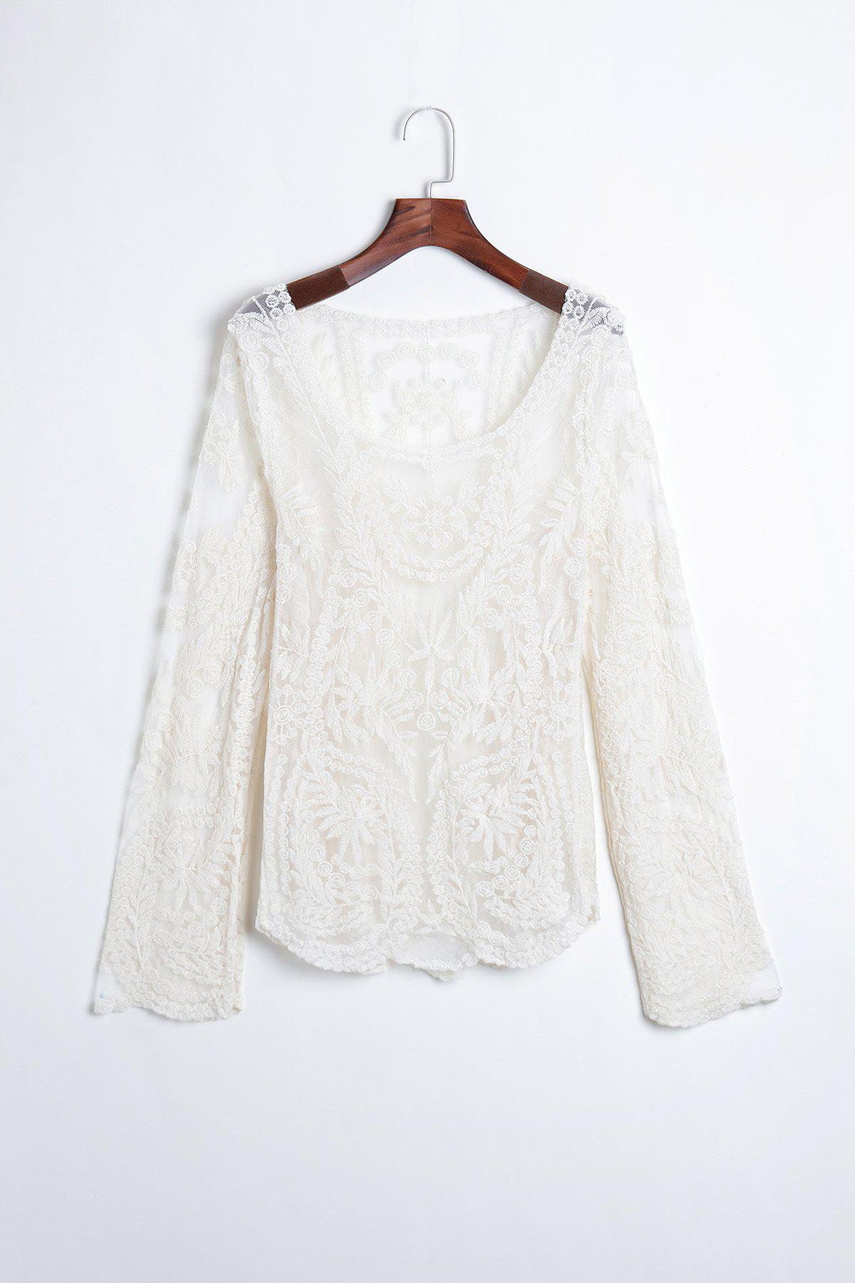 Sweet Women's Lace Blouse With Openwork Embroidery Pattern Loose Fit Design - OFF WHITE ONE SIZE