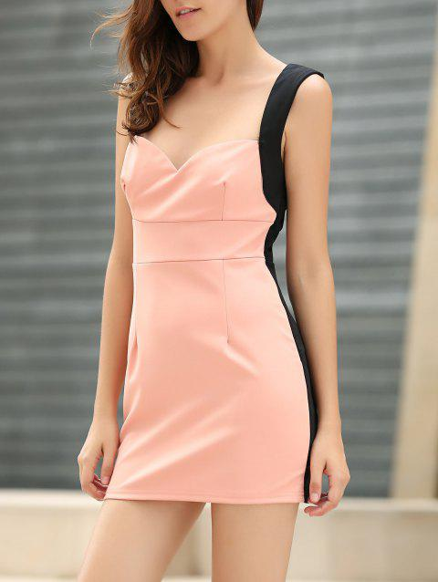 dd51c507eb048 Women s Glamour Low-Cut Four Buttons Color Matching Sleeveless Bodycon  Dress - PINK ONE SIZE