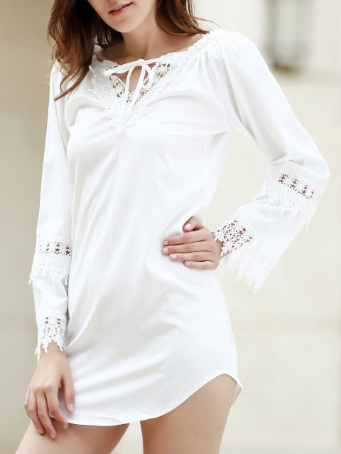 Crochet Panel Long Sleeve Casual Tunic Dress - WHITE XL