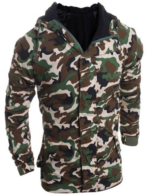 Loose Fit Hooded Fashion Multi-Pocket Camo Pattern Long Sleeve Men's Thicken Cotton Blend Coat - ARMY GREEN L