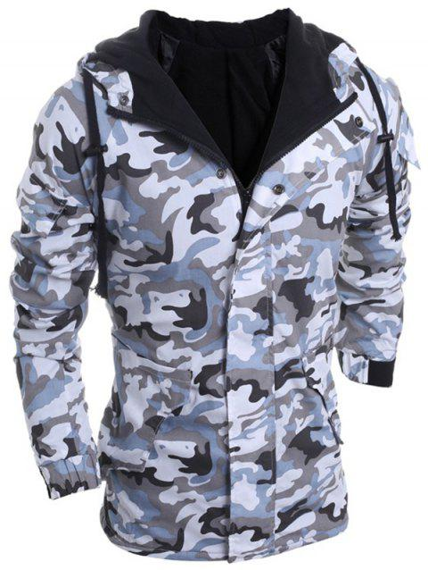 Loose Fit Hooded Fashion Multi-Pocket Camo Pattern Long Sleeve Men's Thicken Cotton Blend Coat - LIGHT GRAY M