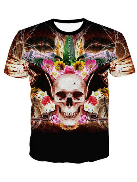 3D Personality Round Neck Skulls Floral Print Short Sleeve Men's T-Shirt - BLACK L