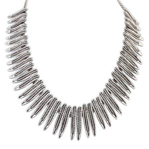 Ethnic Leaf Faux Collar Necklace - SILVER