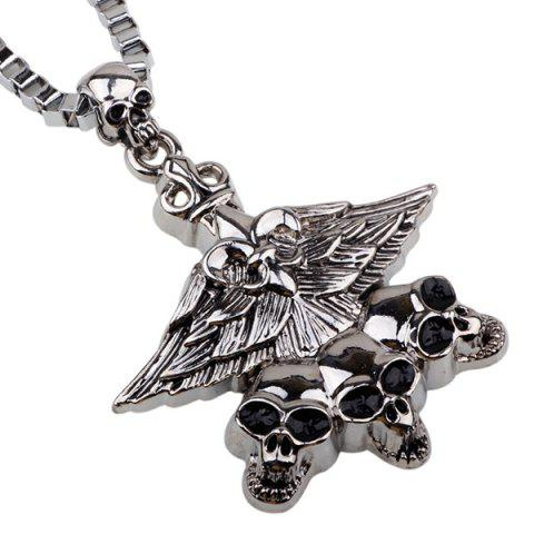 Punk Skull Eagle Pendant Necklace - SILVER