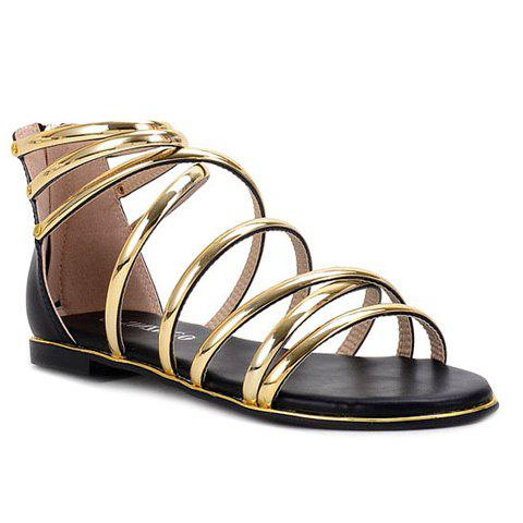 Leisure Hit Color and Cross Straps Design Women s Sandals - BLACK GOLDEN 37 f44034822f8a